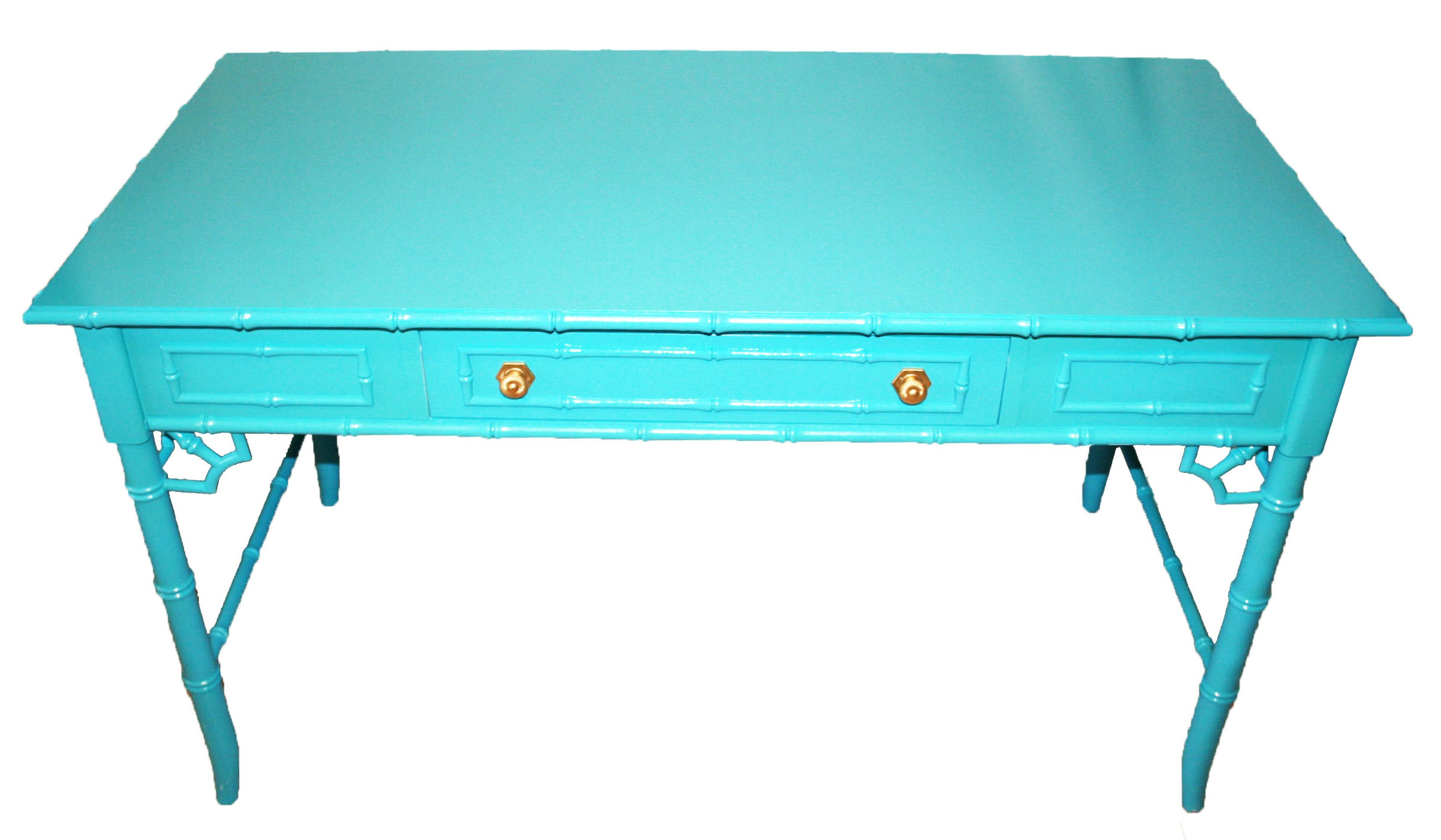 Thomasville Teal Faux Bamboo Desk