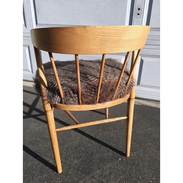 Image of Mid Century Modern Quail Fur Spindle Chair
