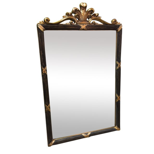 Black & Gold Hollywood Regency Style Mirror - Image 1 of 5