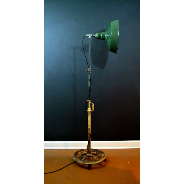Industrial Floor Lamp With Green Enamel Shade - Image 2 of 8