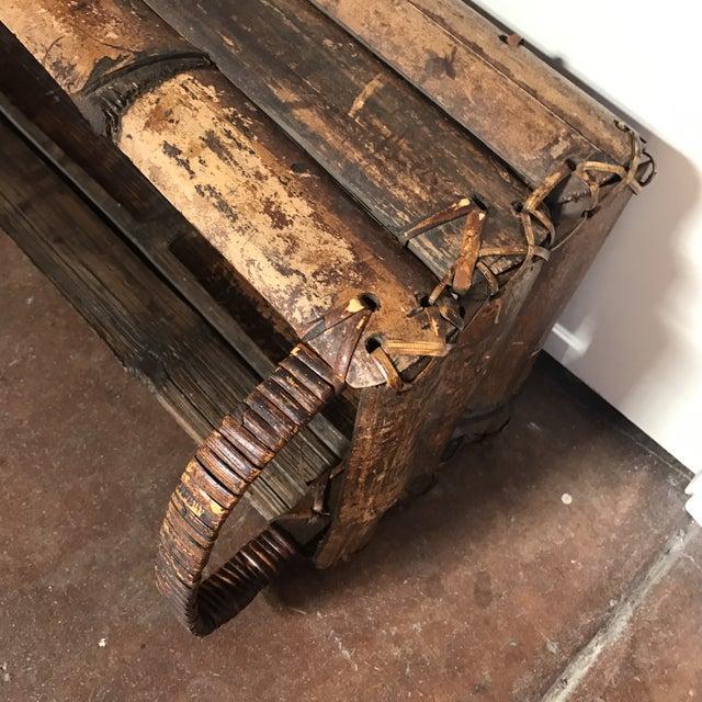 Asian Style Bamboo Trough Handled Basket - Image 5 of 9