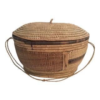 Large Woven Lidded Basket
