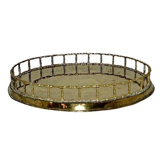 Faux Bamboo Oval Brass Tray