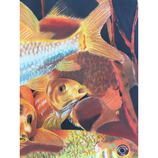 Vintage Koi Fish Original Pastel Framed - Image 6 of 6