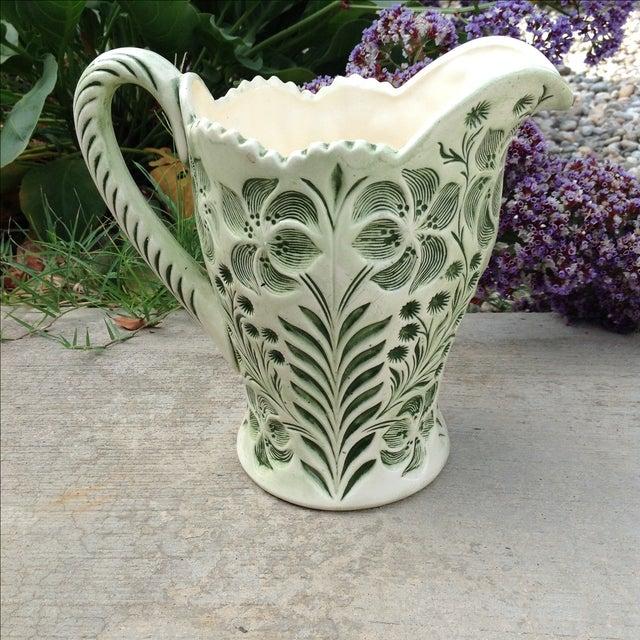 Image of Green Botanical Artisan Pottery Pitcher