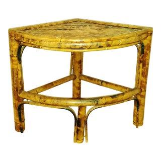 Vintage Scorched Bamboo Corner Shelf