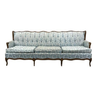 Vintage Blue Floral Sofa with Walnut Frame