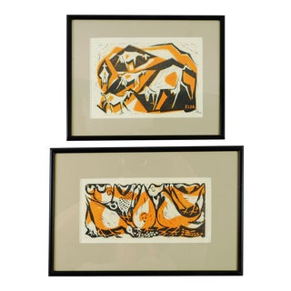 Modernist Goats & Chickens Block Prints - A Pair