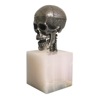 Cast Silver Articulated Model of a Skull with Removeable Brain