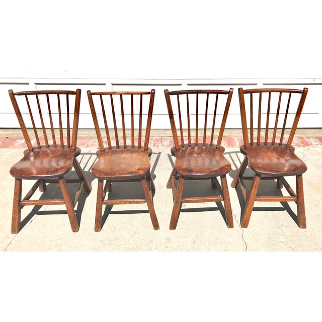 Primitive Wood Dining Chairs - Set of 4 - Image 2 of 4