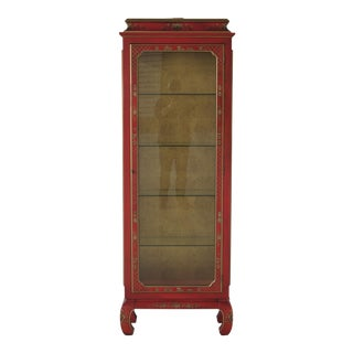 Hekman Chinoiserie Decorated Lighted Curio Cabinet