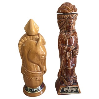 Mid-Century Ceramic Whiskey Bottles - A Pair