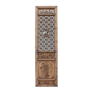 Chinese Vintage Wood Finish People Flower Accent Wall Panel Headboard