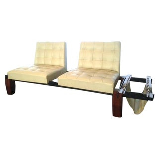 Brazilian White Leather Two-Seater Sofa & Mag Rack
