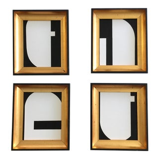 Abstract Geometric Sumi Ink Paintings - Set of 4