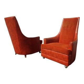 Orange Mid-Century High Back Chairs - Pair
