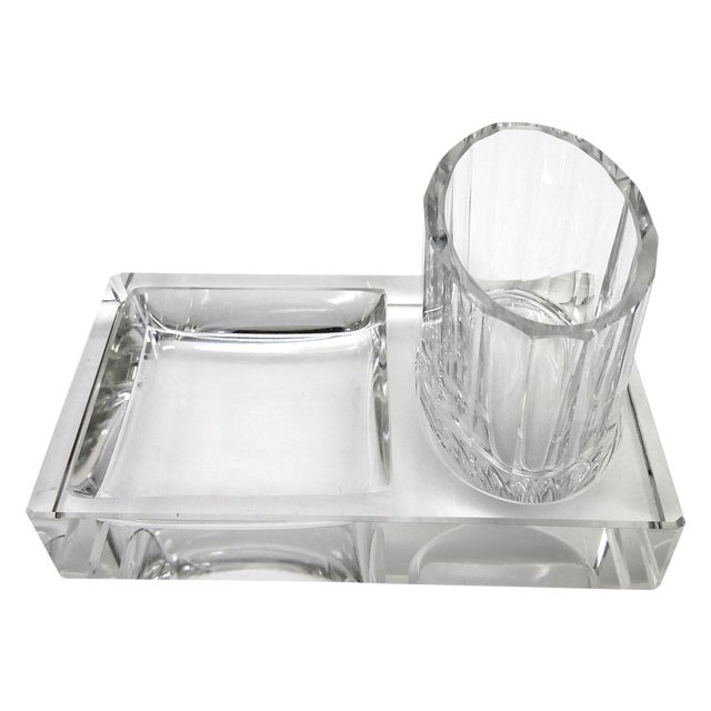 Image of Crystal Art Deco Cigarette Ashtray - 2 Pieces