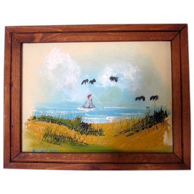 Coastal Beach Scene Signed Painting - Image 2 of 9