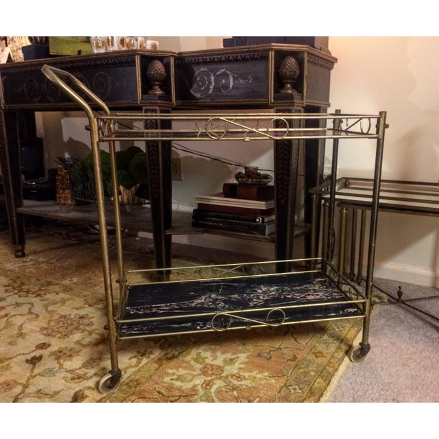 Mid-Century Modern Brass & Marble Rolling Bar Cart - Image 8 of 11
