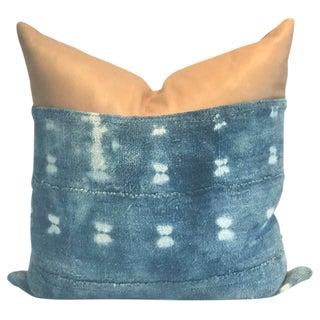 'Ana' Indigo & Leather Mud Cloth Pillow