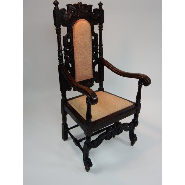 Antique Intricately Carved Oak Throne Chair - Image 3 of 10