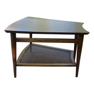 1966 Lane Walnut And Cane Side Table