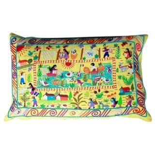 Hand Woven Yellow Vida De Rancho Cover Pillow