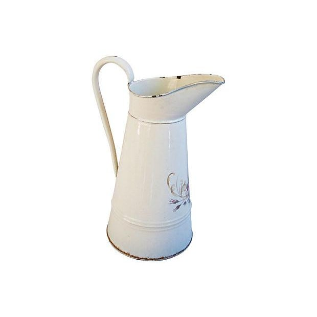 Image of Vintage 1930s French Hand-Painted Floral Pitcher