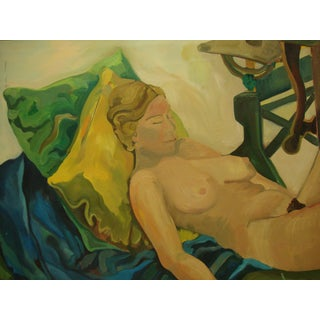 Vintage 1970s Female Nude Oil on Canvas Painting