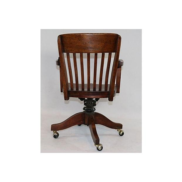 Vintage Solid Walnut Office Chair - Image 3 of 5