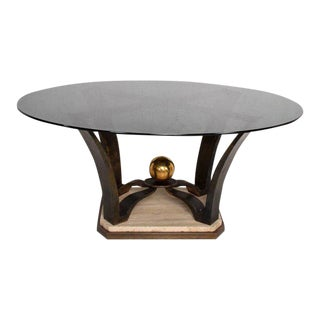 Mexican Modernist Oval Dinning Table Base Bronze & Travertine