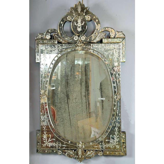 Venetian Style 1970s Etched Glass Mirrors - A Pair - Image 8 of 9