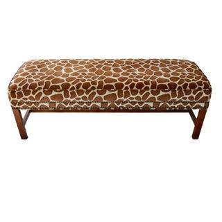 Animal Print Upholstered Nailhead Bench