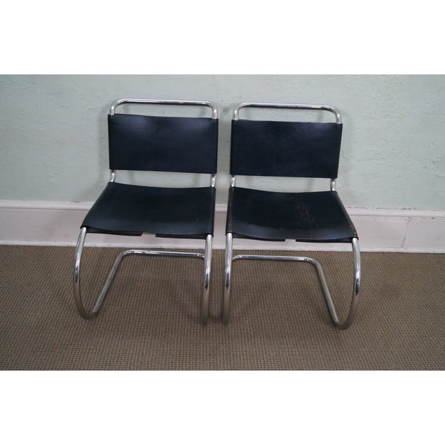Image of Knoll Mies Van Der Rohe Side Chairs - A Pair