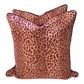 Cowtan and Tout Ocelot Red Cafe Pillows - A Pair