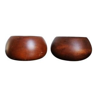 Thai Hand-Carved Mango Wood Bowls - A Pair