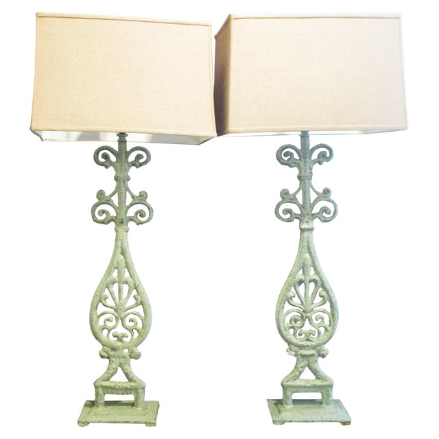 Green Cast Iron Table Lamps - A Pair - Image 1 of 5