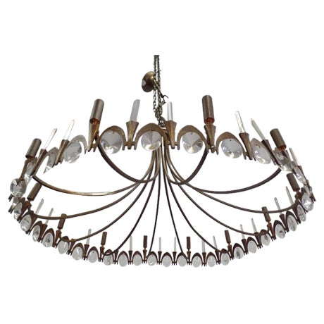 Italian Modern Neoclassical Gilt Bronze and Crystal Chandelier - Image 1 of 9