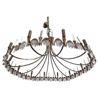 Italian Modern Neoclassical Gilt Bronze and Crystal Chandelier