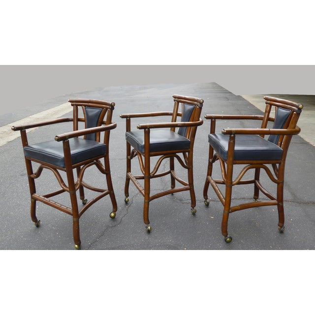 Ritts Co. Mid-Century Bamboo Bar Stools - Set of 3 - Image 6 of 11