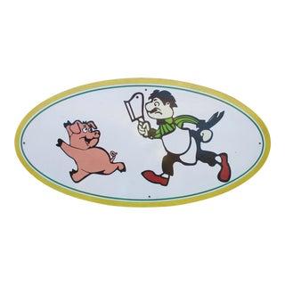 Vintage Wood Pig & Butcher Sign