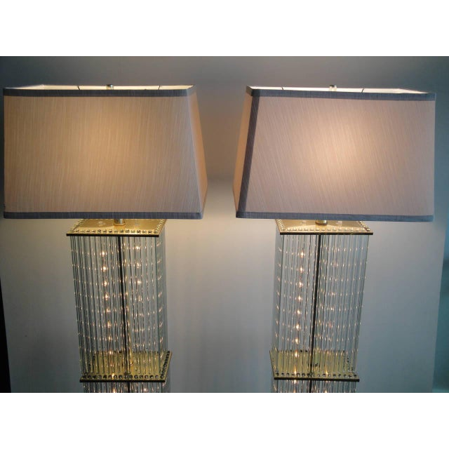 Pair of Sciolari Brass and Glass Floor Lamps for Lightolier - Image 4 of 9