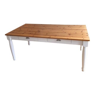 Country Chic Style Wood Two-Drawer Kitchen Table