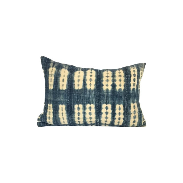 Vintage African Striped Indigo Batik Pillow - Image 1 of 4