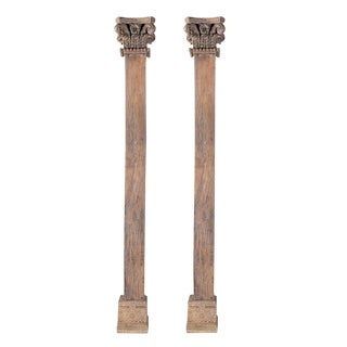 Antique Wood Carved Pillars