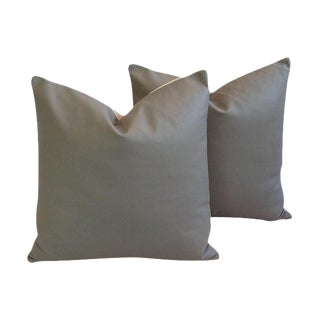 Slate Gray Italian Genuine Leather Pillows - a Pair