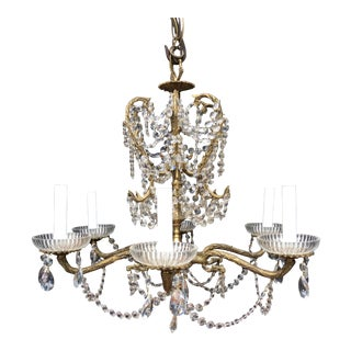 Antique Crystal Brass Six Arm Chandelier