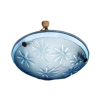 1930's Art Deco Aqua Pressed Glass Chandelier