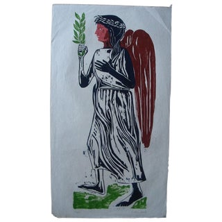 "William Wolff ""Angel With Laurel"" Woodblock Print"