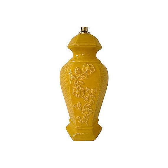 1970s Vintage Chinoiserie Mustard Yellow Ceramic Ginger Jar Lamp - Image 2 of 3